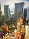 Vista da sopra dei grattacieli di Hong Kong Immagini Stock