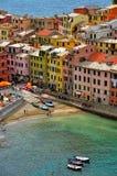 Vista da sopra di Vernazza, Cinque Terre, Italia Immagine Stock Libera da Diritti