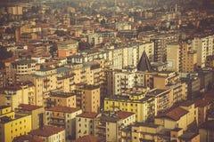 Vista da sopra sulla città di Brescia, mattina in anticipo della molla Fotografia Stock Libera da Diritti