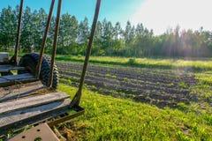 Vista da terra arada Sulco do arado Preparação da agricultura Imagens de Stock Royalty Free