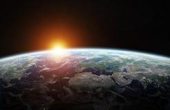 Vista da terra azul do planeta em elementos da rendição do espaço 3D desta Fotografia de Stock
