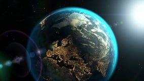 Vista da terra do planeta em um quadro dourado com ruído da tevê, animação 3d ilustração stock
