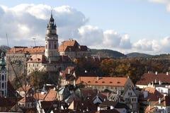 Vista da torre de Cesky Krumlov Fotos de Stock Royalty Free