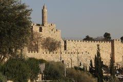 Vista da torre de David antigo em Jerusalem (Israel) Fotografia de Stock