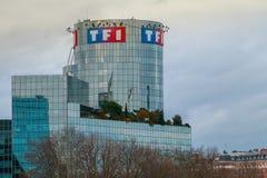 Vista da torre TF1 em um dia de inverno imagem de stock royalty free