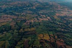 Vista da un aeroplano nel cielo Kansas e nel Missouri Fotografie Stock