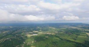 Vista da un'altezza del paesaggio con i campi e gli alberi video d archivio