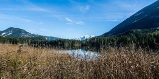 Vista da un lago bavarese a Berchtesgaden alle montagne dell'alpe Fotografia Stock Libera da Diritti
