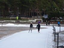 Vista da un parco in cui la gente sta pattinando e non sta congelando Fotografia Stock