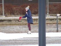 Vista da un parco in cui la gente sta pattinando e non sta congelando Fotografia Stock Libera da Diritti