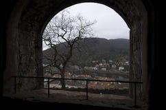 Vista da una finestra, Germania della città di Heidelberg immagini stock libere da diritti