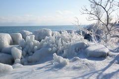 Vista da una pertica ghiacciata Fotografie Stock Libere da Diritti