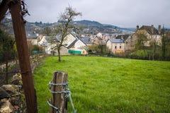 Vista da vila de Banassac, França Fotografia de Stock