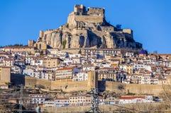 Vista da vila de Morella, Espanha fotografia de stock
