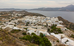 Vista da vila de Plaka, Milos, Greece Foto de Stock