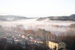 Vista da vila, Herault, França fotografia de stock
