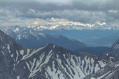 Vista da Zugspitze, alpi. Fotografie Stock Libere da Diritti