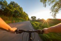 Vista dagli occhi dei motociclisti Fotografie Stock
