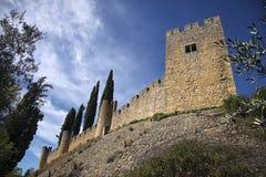 Vista dal basso alla parete medievale del castello ed al cielo nuvoloso blu Fotografia Stock Libera da Diritti