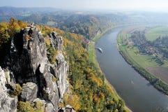 Vista dal Bastei-Ponticello, Germania Fotografie Stock Libere da Diritti