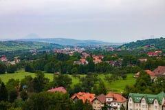 Vista dal castello di Dracula in Romania & x28; Bran& x29; Fotografia Stock Libera da Diritti