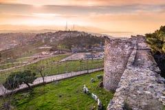 Vista dal castello di Kadifekale, localmente conosciuto come Kadifekale fotografia stock libera da diritti