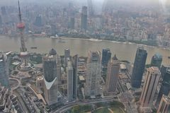 Vista dal centro finanziario del mondo di Shanghai Fotografia Stock Libera da Diritti