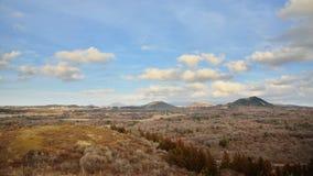 Vista dal cono vulcanico di Mundoji a Jeju Fotografie Stock