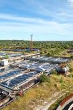 Vista dal di cui sopra sull'impianto di per il trattamento dell'acqua Fotografie Stock