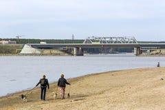 Vista dal fiume sul ponte e sulla strada principale federale M-52 Il rive Fotografia Stock Libera da Diritti