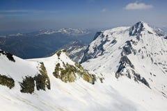 Vista dal ghiacciaio di Hintertux la lima curva di Hoher, Fotografie Stock Libere da Diritti