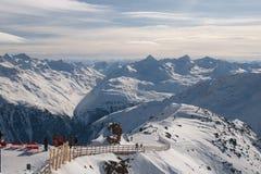 Vista dal ghiacciaio nelle alpi Immagini Stock Libere da Diritti