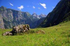 Vista dal Koenigssee verso le alpi Fotografia Stock