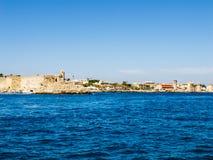Vista dal mare alla fortezza di Rodi Fotografia Stock Libera da Diritti