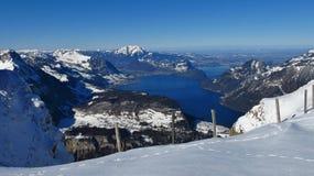 Vista dal Mt Fronalpstock, alpi svizzere Fotografia Stock