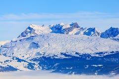 Vista dal Mt Fronalpstock in Svizzera nell'inverno Fotografie Stock Libere da Diritti