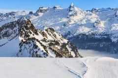 Vista dal Mt Fronalpstock in Svizzera nell'inverno Fotografia Stock Libera da Diritti