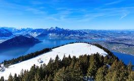 Vista dal Mt Rigi nell'inverno Fotografia Stock Libera da Diritti