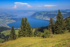 Vista dal Mt Rigi in Svizzera in autunno Fotografia Stock Libera da Diritti