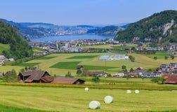 Vista dal Mt Stanserhorn in Svizzera nella primavera Immagine Stock