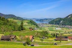 Vista dal Mt Stanserhorn verso il lago Lucerna Immagini Stock