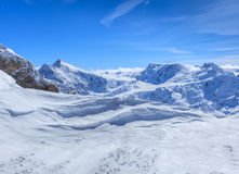 Vista dal Mt Titlis in Svizzera nell'inverno Fotografia Stock