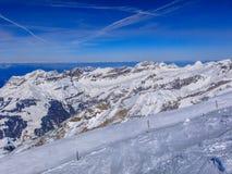 Vista dal Mt Titlis in Svizzera nell'inverno Immagini Stock Libere da Diritti