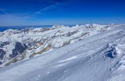 Vista dal Mt Titlis in Svizzera nell'orario invernale Fotografie Stock Libere da Diritti