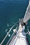 Vista dal naso della barca a vela Fotografia Stock
