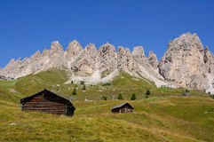 Vista dal passaggio di Gardena - dolomia, Italia Fotografie Stock
