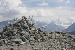 Vista dal passaggio Karatyurek Montagna di Belukha, Altai, Russia Fotografie Stock