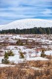 Vista dal passo di montagna Seminski in Altai sul supporto Sarlyk sotto Fotografia Stock
