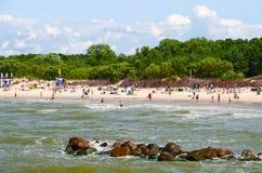 Vista dal pilastro alla spiaggia in Palanga, Lituania Fotografia Stock Libera da Diritti