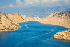Vista dal ponte di Maslenica Fotografia Stock Libera da Diritti